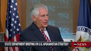 Sec'y of State Rex Tillerson takes questions after President Donald Trump's Afghanistan Announcement