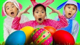 Wendy Pretend Play Huge Easter Surprise Eggs Hunt w/ Liam & Lyndon