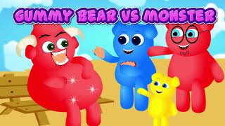 Cute Mega Gummy Bear Desenho Engraçado Na Música Da Família Dedo Da Prisão | Coleção De Rimas De Cr