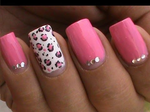 Pink Leopard Nail Art Tutorial In Rhinestones Designs For Beginners Cute Nail Polish Ideas Youtube