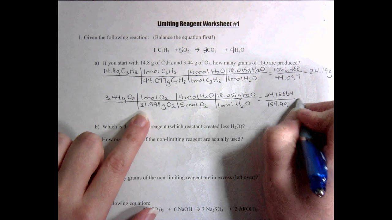 Limiting Reagent Worksheet 1 Youtube