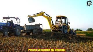 Mahindra Loading Mud On Tractor -Mahindra Excavator-Children Music -Jcb Machine