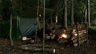 7 day Solo Bushcraft Wild Island Camp - Full Trip Long Version - Woodcraft, Tenkara, Painting
