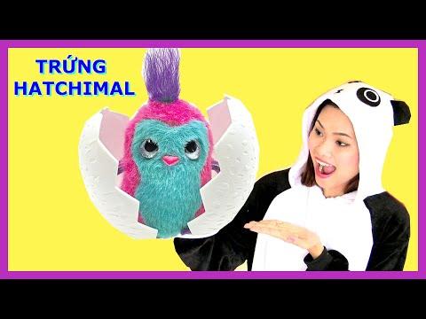 Chị Gấu Trúc Lần Đầu Uống Kẹo Máy Giặt Nhật  / Mở Trứng Hatchimal Siêu Cute! Đồ Chơi Mỹ /Chị Bí Đỏ