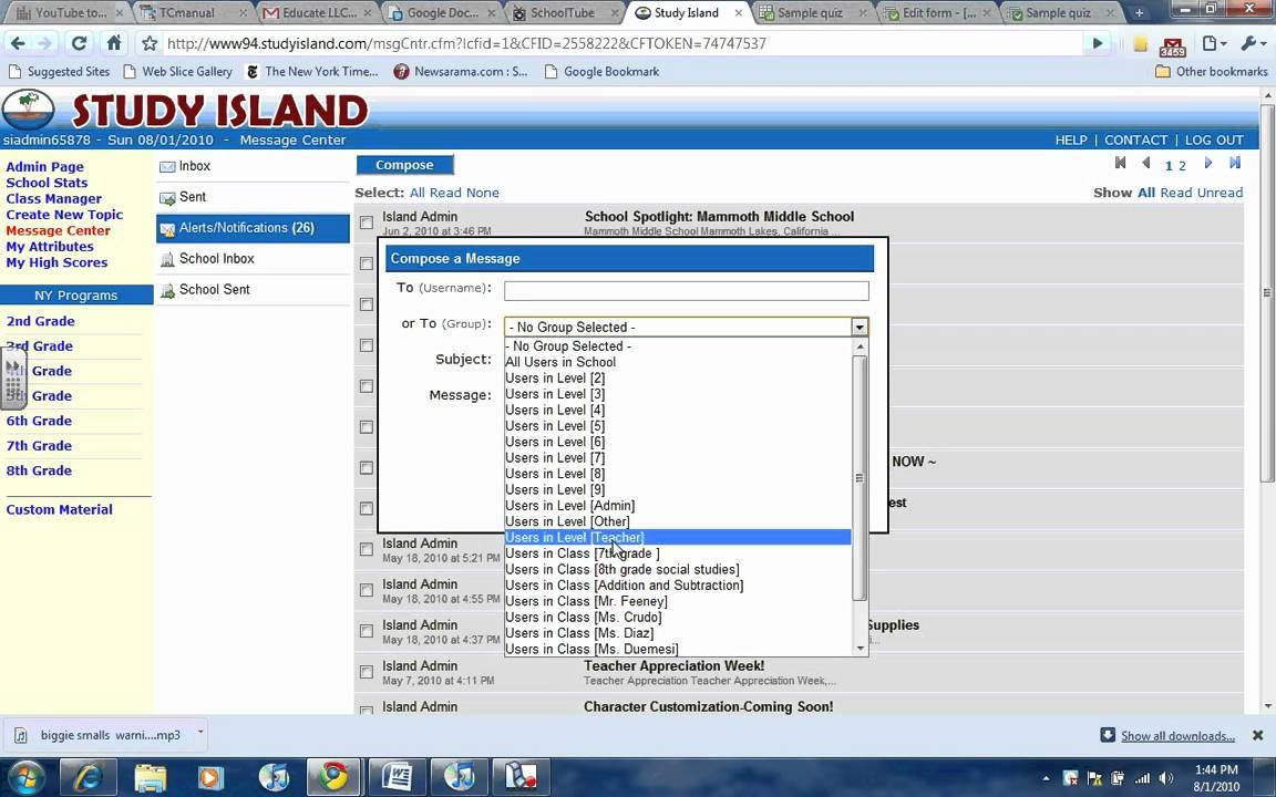 Using Study Island Email