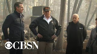 Trump visits areas affected by California wildfires