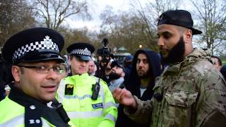 You cant pray! Muhammad Hijab & Police   Speakers Corner   Hyde Park