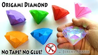 How to Make the CHAOS EMERALDS - Origami Diamond - No Tape! No Glue! No Scissors!