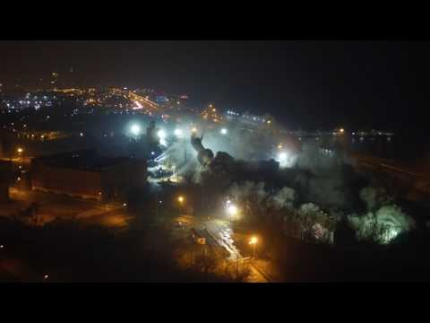 Drone footage of Lake Shore Power Station demolition in Cleveland, Ohio.