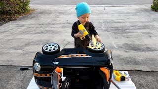 Power Wheels Car Kids Toy, Unboxing Assembling, Ride and Wash Pretend Play, video for kids