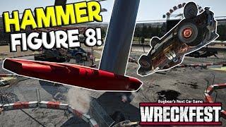 GIANT HAMMER FIGURE 8 VS NASCAR! -  Next Car Game: Wreckfest Release Gameplay - Wrecks & Races