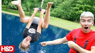 CRAZY BACKYARD ZIPLINE BACKFLIP CHALLENGE INTO POND!! with Stephen Sharer (you decide)
