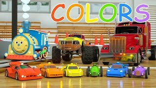 Learn Colors and Race Cars with Max, Bill and Pete the Truck - TOYS (Colors and Toys for Toddlers)