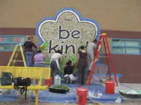Time Lapse: 'be kind' Mosaic Mural Installation