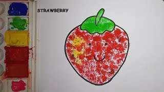 Strawberry art| art with cotton| strawberry worksheet| Cotton coloring for toddlers| Sponge color