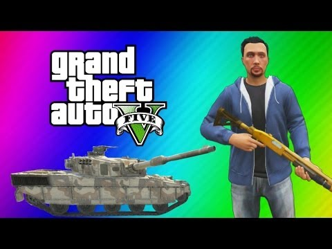 GTA 5 Online Funny Moments Gameplay - Police Station, Tank Launch Glitch, Wildcat Poop, Deep Snow! - Smashpipe Games