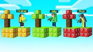 GREEN vs. RED vs. YELLOW LUCKY SKYBLOCK Island CHALLENGE! (Minecraft)
