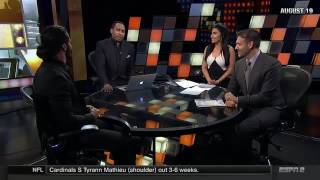 WWE Goldberg Issues Warning to Seth Rollins Live On ESPN First Take