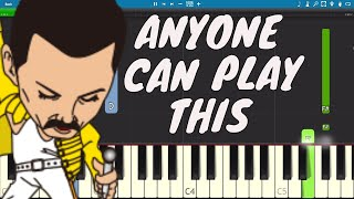 Queen - Love Of My Life EASY Piano Tutorial - LIVE Version