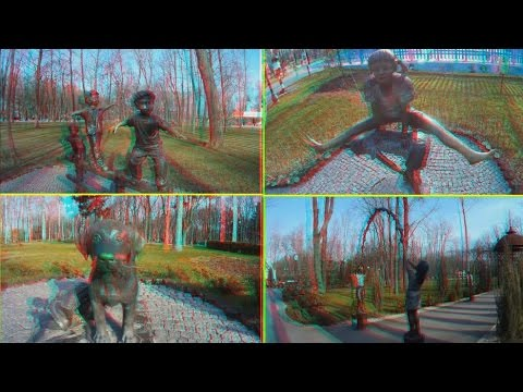 3D VIDEO . Park Sculptures in 3D ( part 1 )