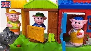 MEGA BLOKS - THREE LITTLE PIGS PLAYSET WITH THREE LITTLE PIGS HOUSES A WOLF AND SOUNDS - UNBOXING