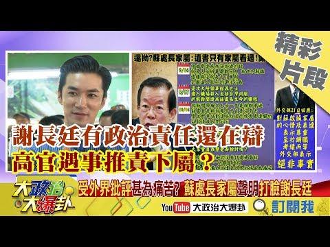 【精彩】謝長廷有政治責任還在辯 高官遇事推責下屬?
