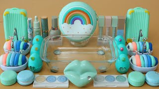 """Mixing""""Mint Rainbow"""" Eyeshadow and Makeup,parts,glitter Into Slime!Satisfying Slime Video!★ASMR★"""
