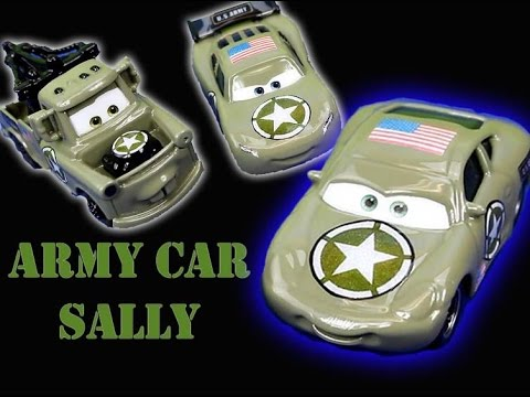 Disney Pixar Cars Army Lightning McQueen & Mater get saved by Army Sally Just4fun290 Sarge mission
