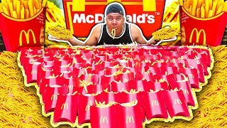 100 MCDONALD'S FRIES CHALLENGE (IMPOSSIBLE) *200,000 CALORIES*