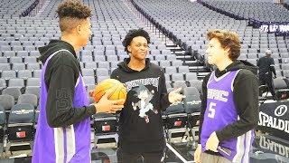 CRAZY BASKETBALL TRICKSHOTS!! INSIDE NBA ARENA FT DE'AARON FOX