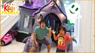 Ryan and Daddy 24 hours Challenge in a Giant Halloween Haunted House