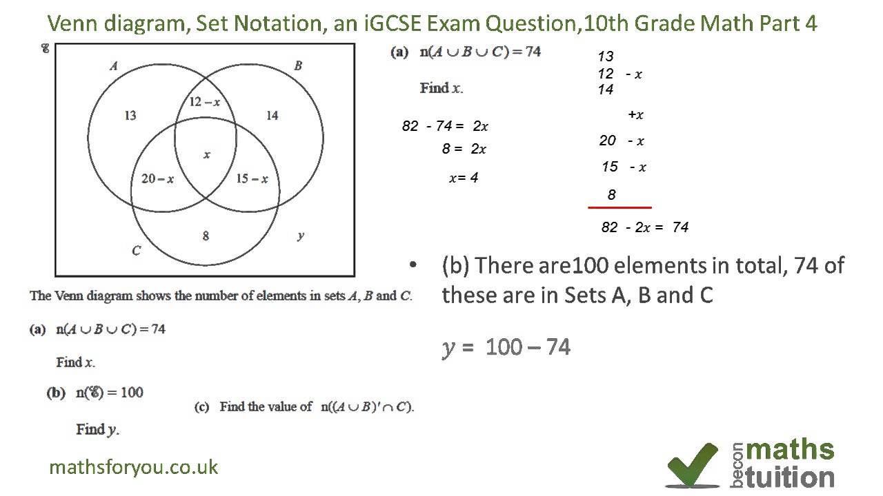 venn diagrams set notation an igcse exam question 10th grade math part 4 youtube. Black Bedroom Furniture Sets. Home Design Ideas
