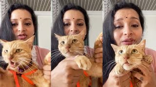 Watch: Renu Desai sings while playing with her Cat..