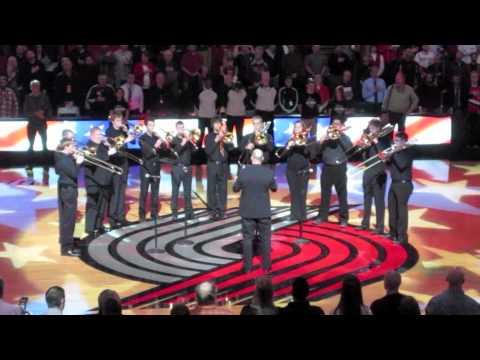 University of Oregon Trombone Choir-National Anthem-Blazer Game