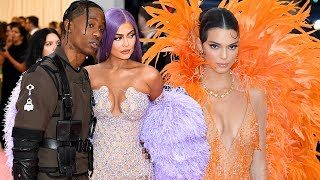 2019 Met Gala: Watch Kendall and Kylie Jenner Arrive in Bright Colors with Travis Scott