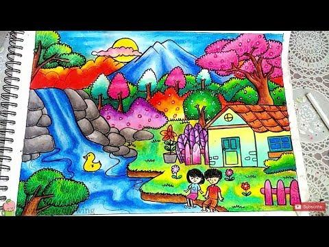 Cara Mewarnai Pemandangan Alam Mobil Rumah Bagus Dengan Crayon