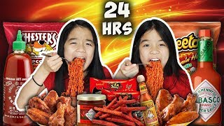 We Only Ate SPICY FOOD for 24 HOURS Challenge!