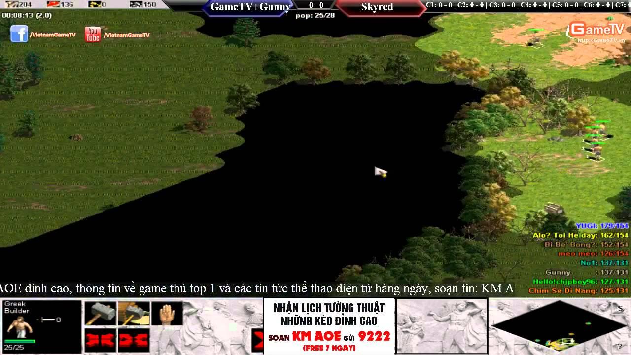 [Video Đế chế] Trận 4 vs 4 giữa GameTV + Gunner và Skyred