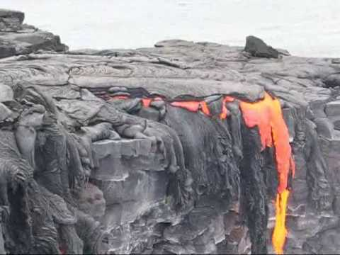 Lava Enters the Pacific Ocean in Hawaii