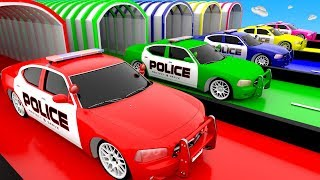 Learn colors with Police Cars for Children Kids Toddlers Baby Colours Learning Education Video 3D