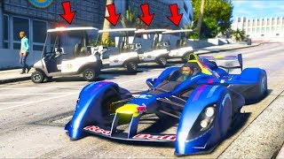 I replaced all cop cars with golf carts and then robbed a bank!! (GTA 5 Mods - Evade Gameplay)