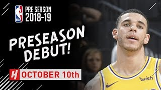 Lonzo Ball PRESEASON DEBUT Highlights Warriors vs Lakers - 2018.10.10 - 7 Pts, 4 Reb, 2 Ast!