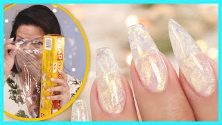 Using Plastic Wrap to Create Crystal Gel Nails