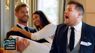 Chris Hemsworth v. James Corden - Battle of the Waiters - #LateLateLondon