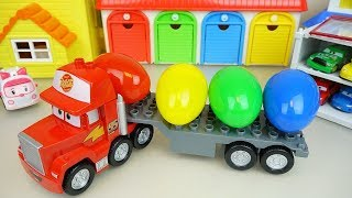 Career Cars truck and surprise eggs with car toys play