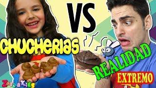 GUMMY VS REAL. Chucherías vs realidad EXTREMO Zarolakids
