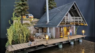 Beautiful Blockhouse Modelling Diorama in scale 1:35 / Model house in the water