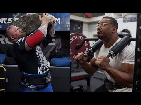 YOKE WALK AND SSB SQUATS! WORLDS STRONGEST MAN DOES 426LB STONE TO SHOULDER