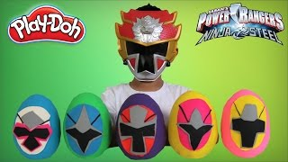 Power Rangers Ninja Steel Play-Doh Surprise Eggs Opening Morphing Fun With Ckn Toys