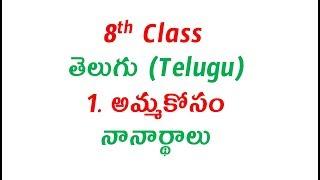 8th Class, Telugu, 1st Lesson, Amma Kosam, Paryaya Padalu